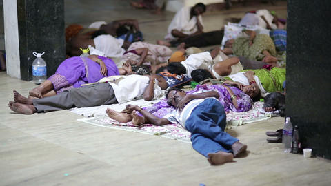 MADURAI, INDIA - MARCH 2013: People sleeping in th Footage
