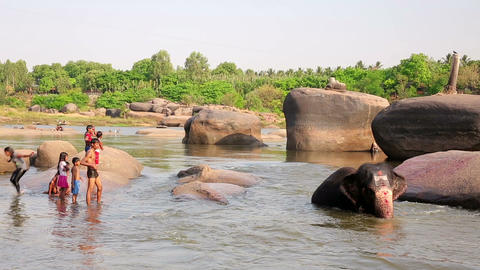 HAMPI, INDIA - APRIL 2013: People and elephant at Stock Video Footage