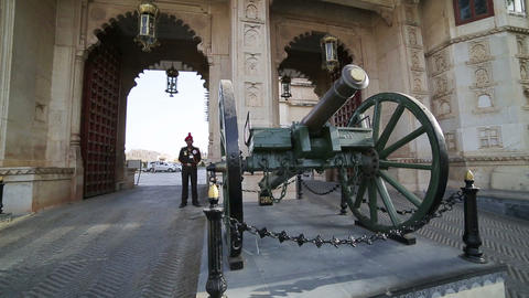 UDAIPUR, INDIA - APRIL, 2013: Honour guard at City Stock Video Footage