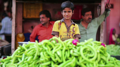 JAIPUR, INDIA - APRIL, 2013: Street vendors Stock Video Footage