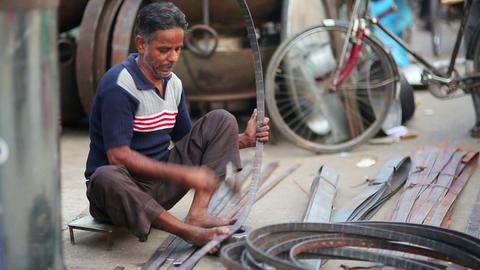 JAIPUR, INDIA - APRIL, 2013: Local craftsman at wo Stock Video Footage