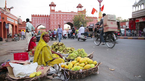 JAIPUR, INDIA - APRIL, 2013: Street vendors Footage