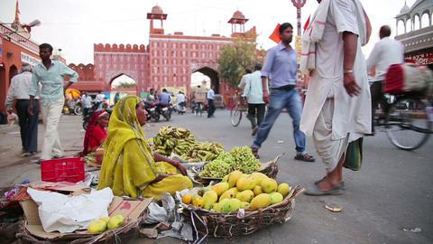 JAIPUR, INDIA - APRIL, 2013: Street vendors Stock Video Footage