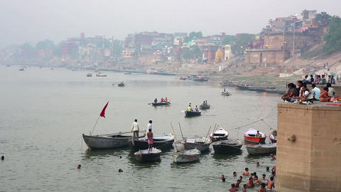 VARANASI, INDIA - MAY 2013: Everyday scene by Gang Stock Video Footage