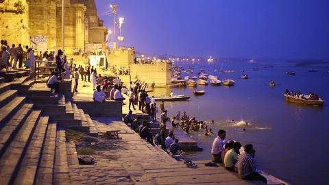 VARANASI, INDIA - MAY 2013: Night scene in Varanas Stock Video Footage