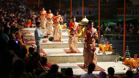 VARANASI, INDIA - MAY 2013: Night praying ceremony Stock Video Footage