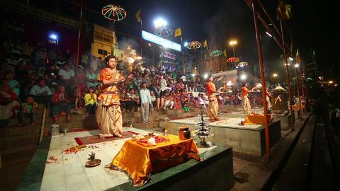 VARANASI, INDIA - MAY 2013: Night praying ceremony Stock Video Footage