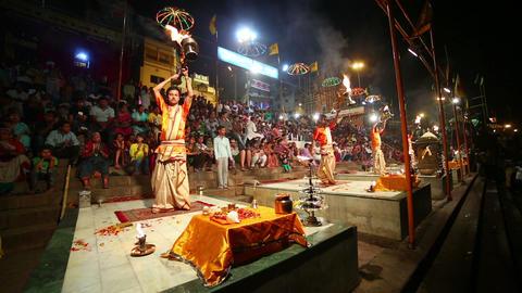 VARANASI, INDIA - MAY 2013: Night praying ceremony Footage