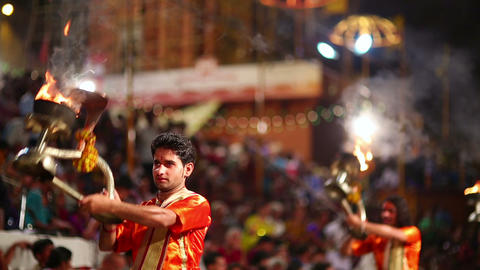 VARANASI, INDIA - MAY 2013: Night praying ceremony Footage