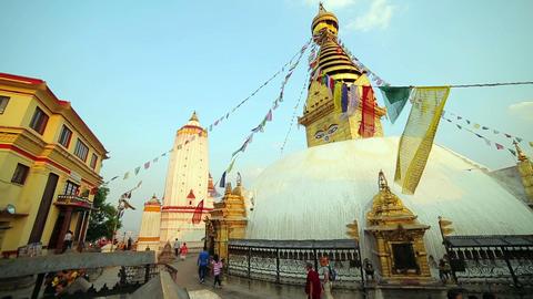 KATHMANDU, NEPAL - JUNE 2013: People at Buddha's E Stock Video Footage