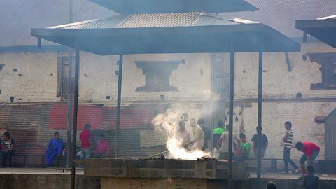 KATHMANDU, NEPAL - JUNE 2013: cremation at pashupa Footage