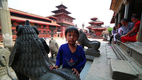 KATHMANDU, NEPAL - JUNE 2013: nepali kid, Patan Du Stock Video Footage