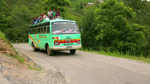 NAGARKOT, NEPAL - JUNE 2013: Nepali passengers, to Stock Video Footage