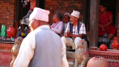 KATHMANDU, NEPAL - JUNE 2013: everyday life at bha Stock Video Footage
