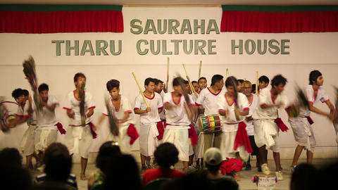 CHITWAN, NEPAL - JUNE 2013: cultural dance for tou Stock Video Footage