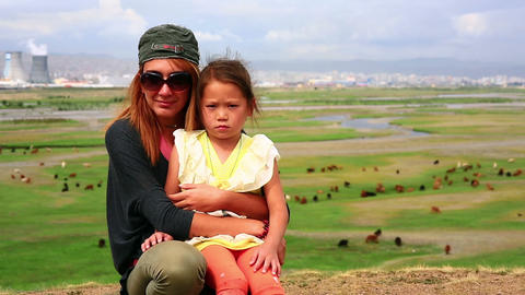ULAANBAATAR, MONGOLIA - JULY 2013: Mongol kid and Stock Video Footage