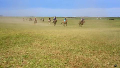 MONGOLIA - JULY 2013: Naadam Festival Horse Race Stock Video Footage