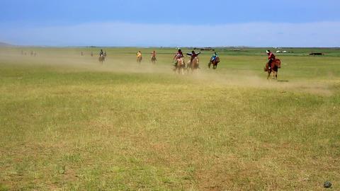 MONGOLIA - JULY 2013: Naadam Festival Horse Race Footage