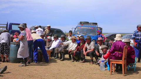 MONGOLIA - JULY 2013: Mongolian people celebrating Footage