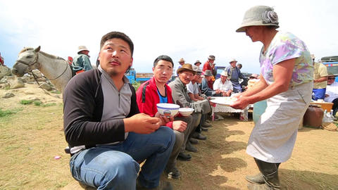 MONGOLIA - JULY 2013: Mongolian people celebrating Stock Video Footage