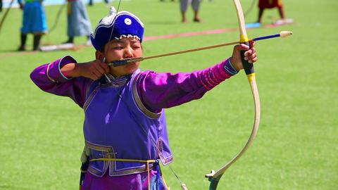 ULAANBAATAR, MONGOLIA - JULY 2013: Naadam Festival Stock Video Footage