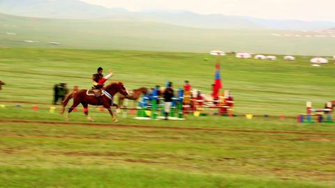 ULAANBAATAR, MONGOLIA - JULY 2013: Mongolian Caval Stock Video Footage