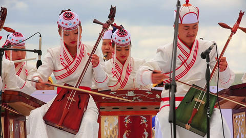 ULAANBAATAR, MONGOLIA - JULY 2013: Mongolian Music Stock Video Footage
