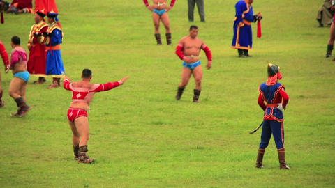 ULAANBAATAR, MONGOLIA - JULY 2013: Wrestling Tourn Stock Video Footage