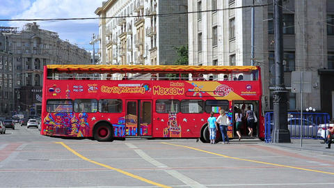 MOSCOW, RUSSIA - JUNE 2013: Sightseeing Bus In The stock footage