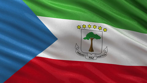 Flag of Equatorial Guinea seamless loop Animation