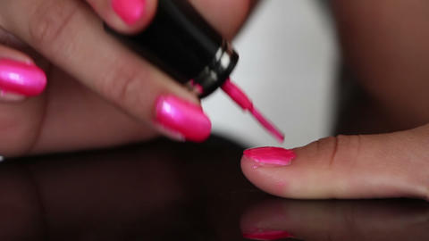 pink nail polish manicure female hand close-up Footage