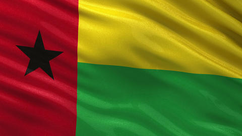 Flag of Guinea Bissau seamless loop Animation