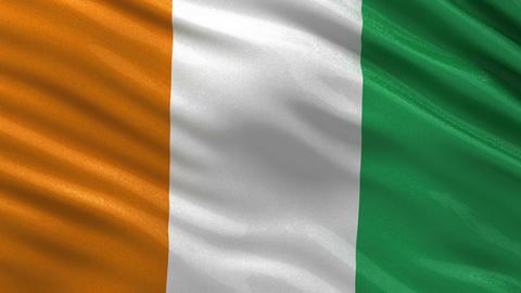 Flag of Ivory Coast seamless loop Animation