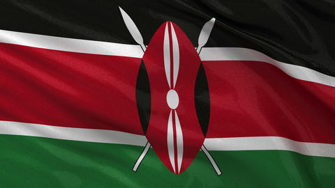 Flag of Kenya seamless loop Stock Video Footage