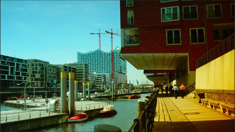 New office and residence buildings at the Hamburg Stock Video Footage