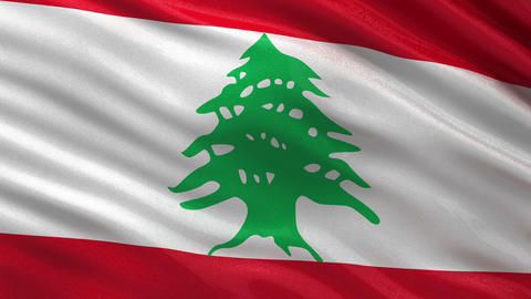Flag of Lebanon seamless loop Animation