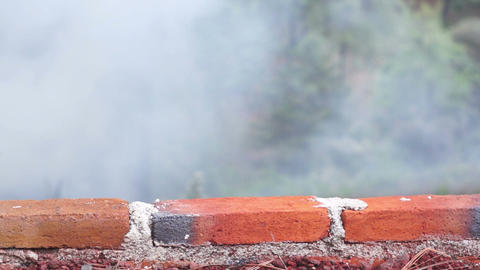 Brick Wall With Smoky Background Dolly stock footage