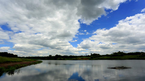 Movement of clouds over the reservoir. Donetsk, Uk Stock Video Footage