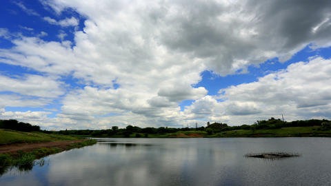 Movement of clouds over the reservoir. Donetsk, Uk Footage