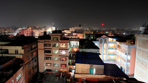 Buildings with flats at night, timelapse. Kathmand Stock Video Footage