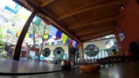 Hotel open air cafe. Kathmandu. Nepal, Full HD (ti Stock Video Footage