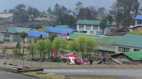 LUKLA, NEPAL - APRIL 2: Tenzing-Hillary Helicopter Footage