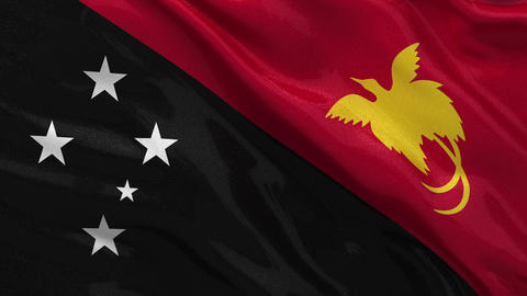 Flag of Papua New Guinea seamless loop Stock Video Footage