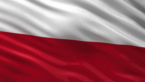 Flag of Poland seamless loop Animation