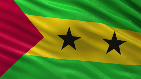 Flag of Sao Tome and Principe seamless loop Animation