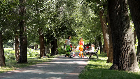 Mothers With Prams At Park stock footage