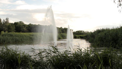 Beautiful fountain in the park (High Definition) Live Action