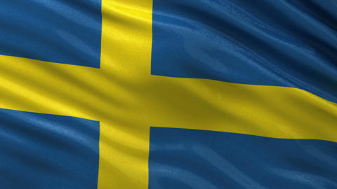 Flag of Sweden seamless loop Animation