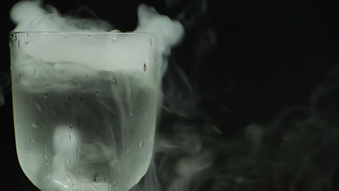 Glass with dry ice Footage