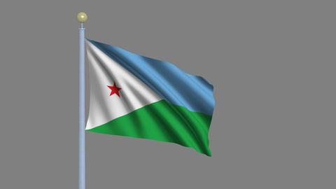 Flag of Djibouti Stock Video Footage